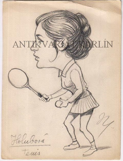 Míla Holubová, Tennis - Original Artwork, Pencil Drawing