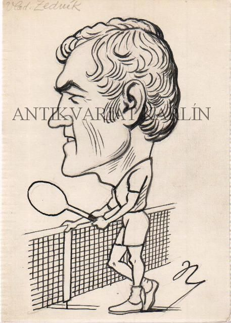 Vladimír Zedník, Tennis - Original Artwork, Drawing in Indian ink Marcel Niederle