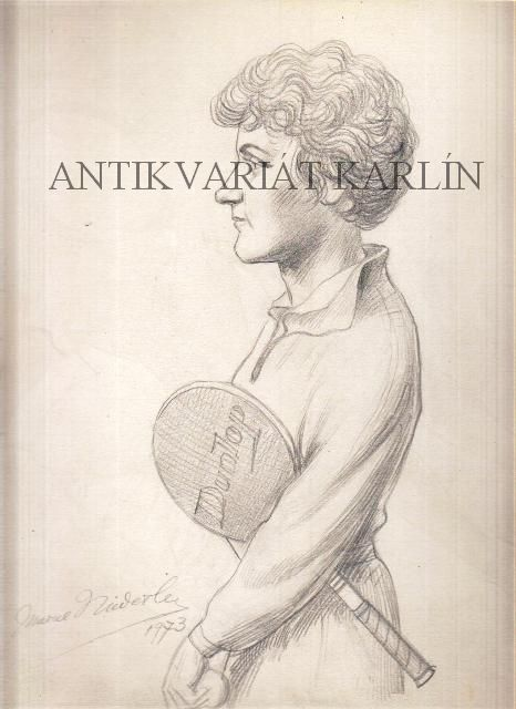 Věra Suková, Tennis - Original Artwork, Pencil Drawing