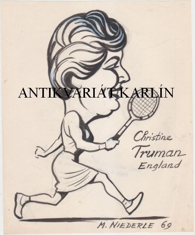 Christine Truman (England) - Original Artwork, Drawing in Indian ink, tenis, tennis